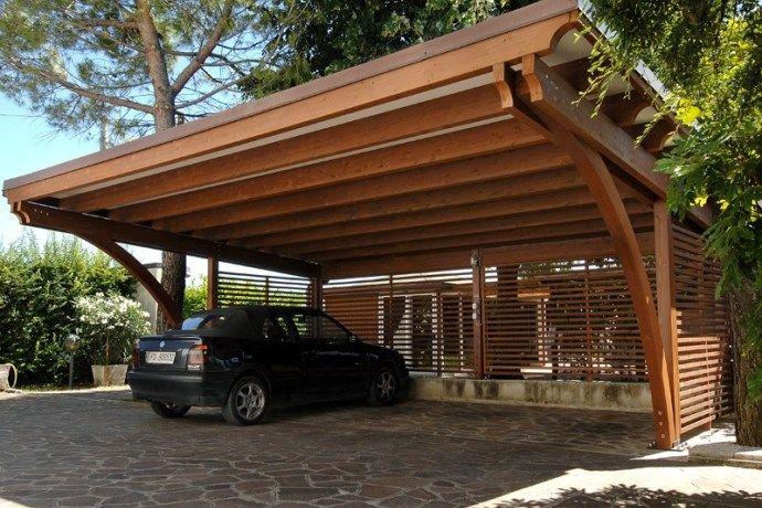 Carport in legno nel 2020 Patio pergolato, Tetto