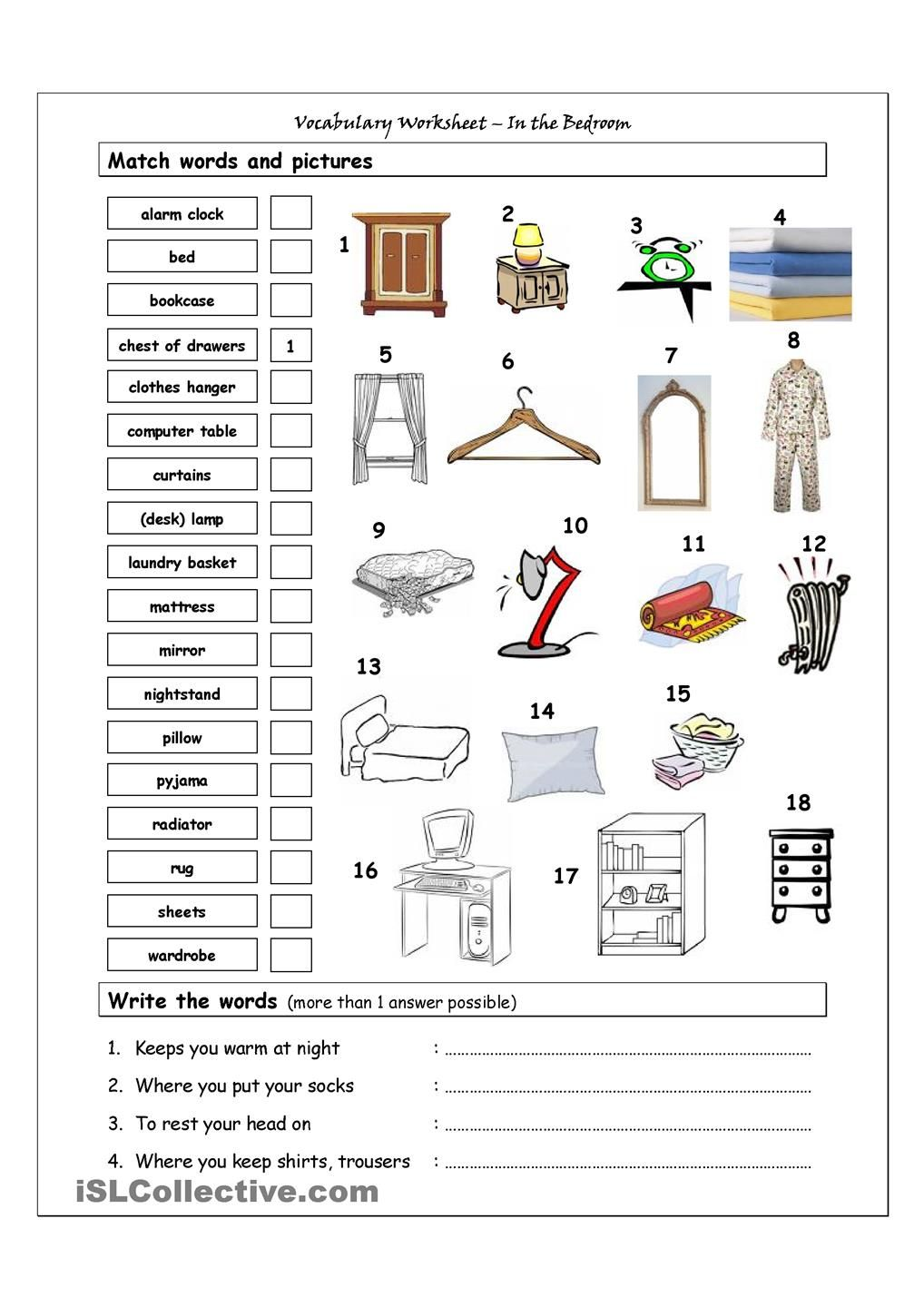 Vocabulary Matching Worksheet In The Bedroom
