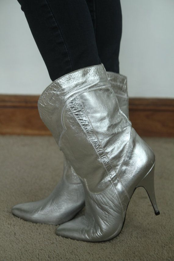 fc455aaff7c Vintage 80's Metallic silver Rocker Party Glam Mid calf Pointy Western  Stilleto Boots Size 6- 6.5