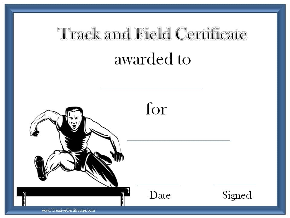 Track and field award certificate Track awards Pinterest - free appreciation certificate templates for word