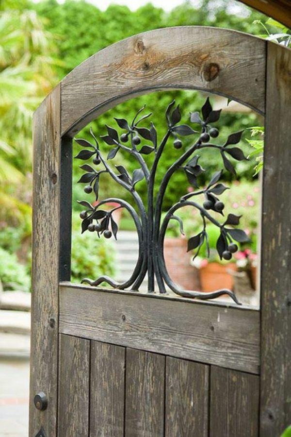 gartentür elegant holz metall kombination   gartentore o.türen, Garten und erstellen