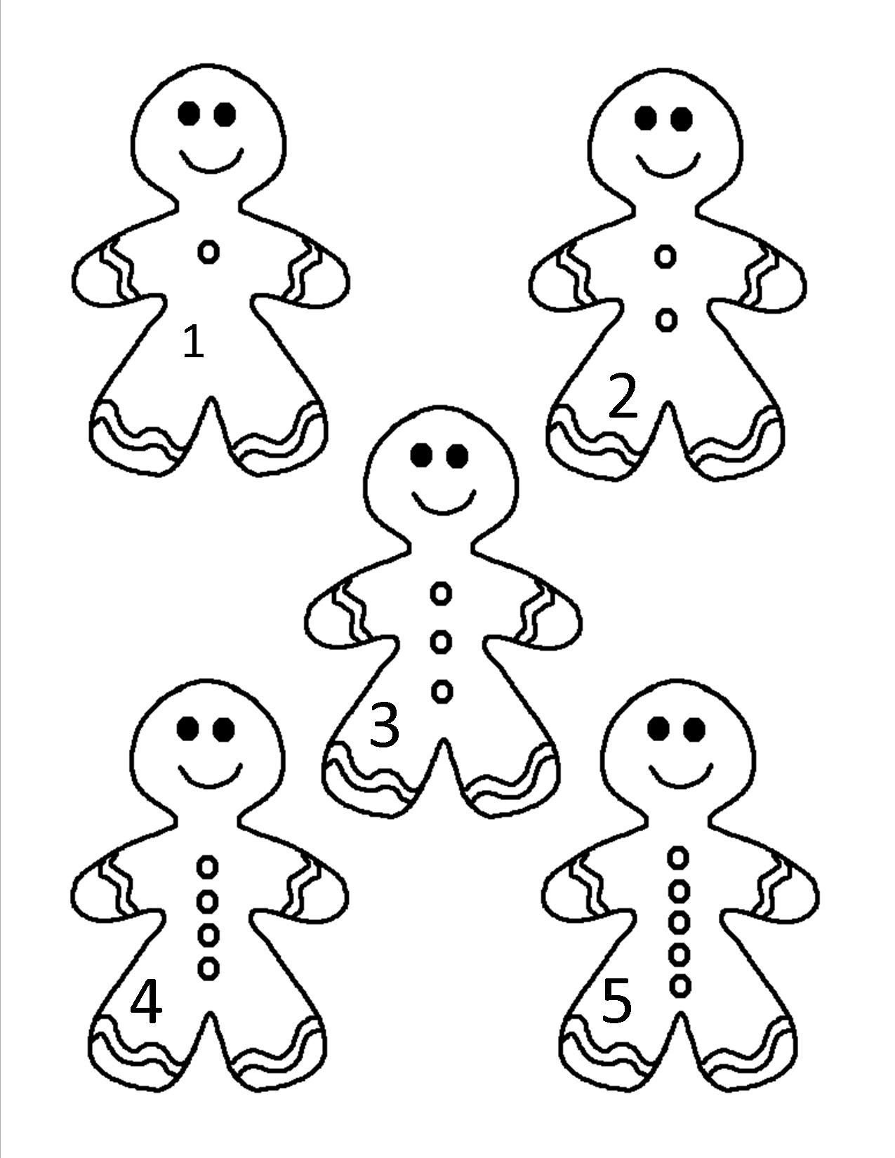 Gingerbread Man Counting Set 1 5 People Coloring Pages Baby Coloring Pages Coloring Pages