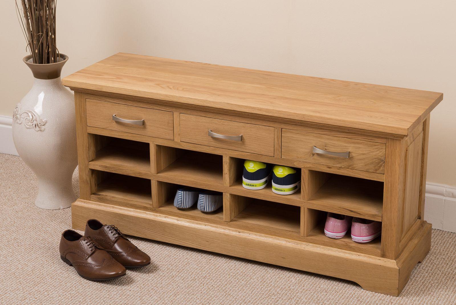 aspen 100 solid oak wood 3 drawer shoe bench rack hallway on shoe rack wooden with door id=96720