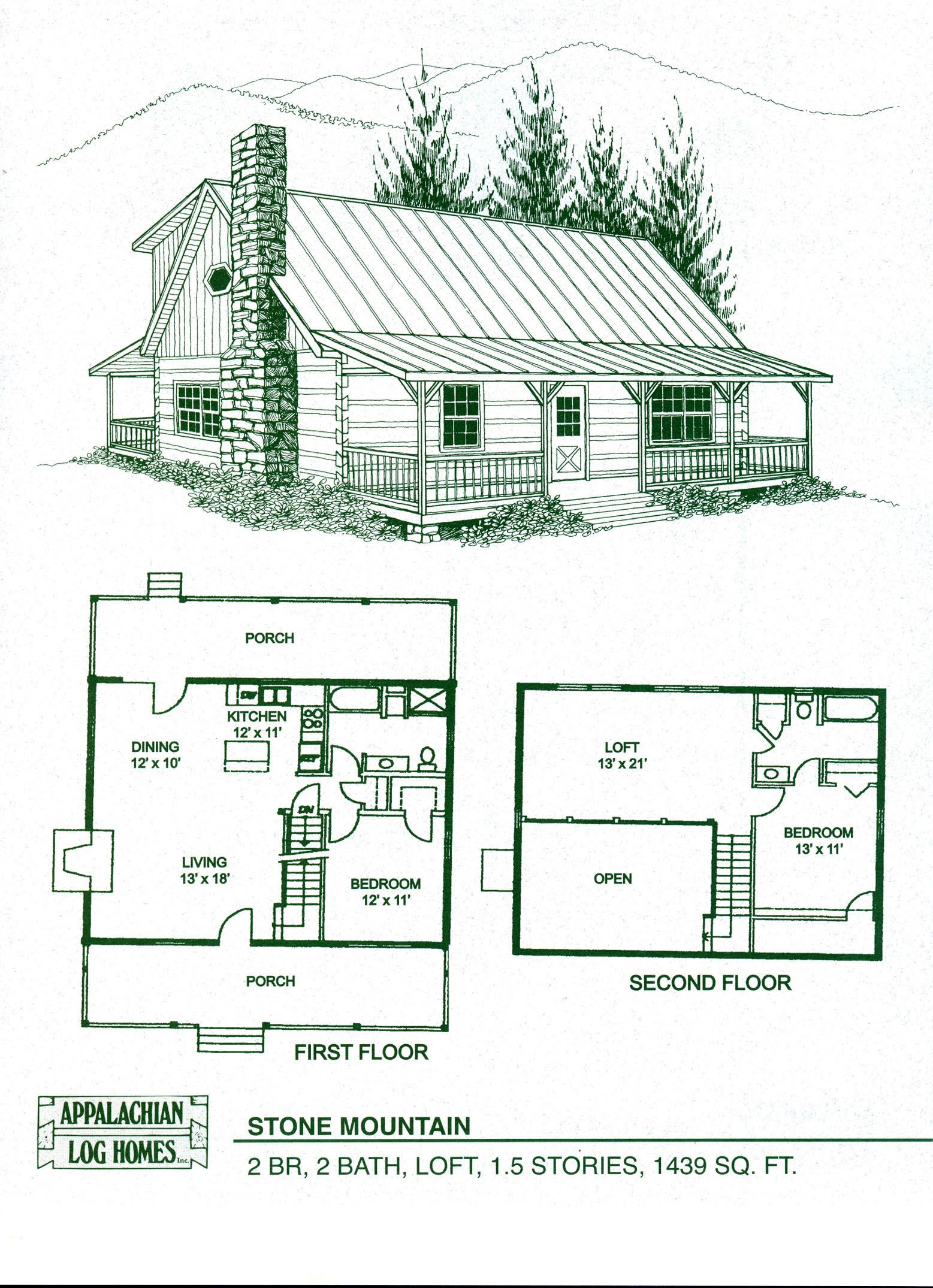 cabin home plans with loft  Log Home Floor Plans Cabin Kits Appalachian