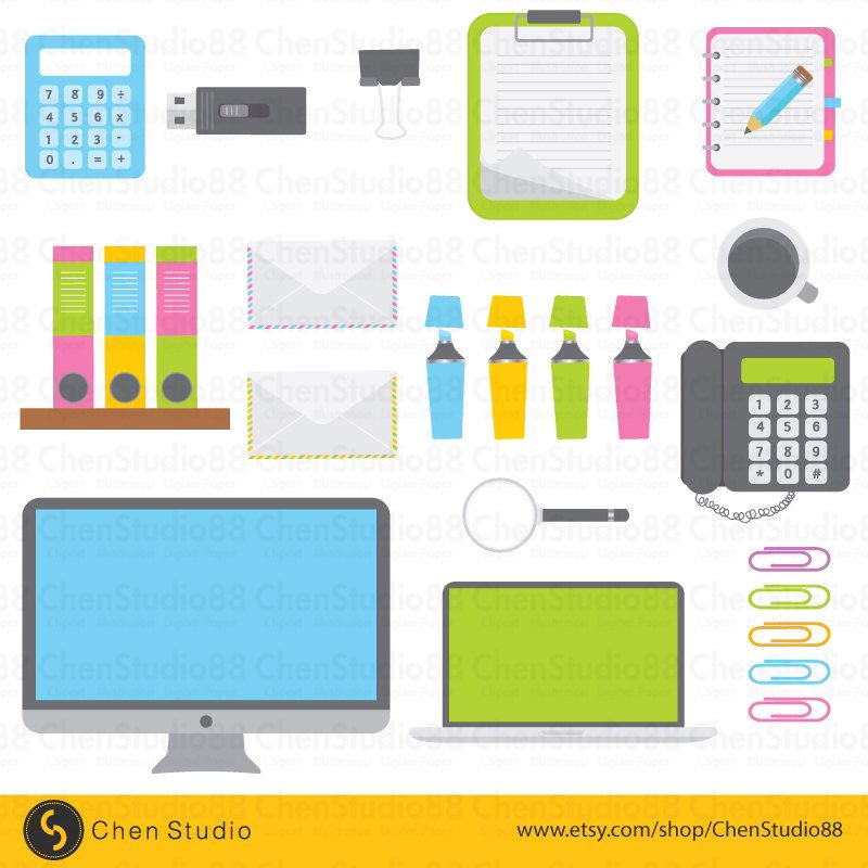 Bürobedarf clipart  Office supplies vector - Digital Clipart - Instant Download - EPS ...