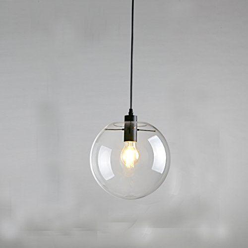 E27 Industrial Clear Glass Globe Black Shade Pendant Light Modern