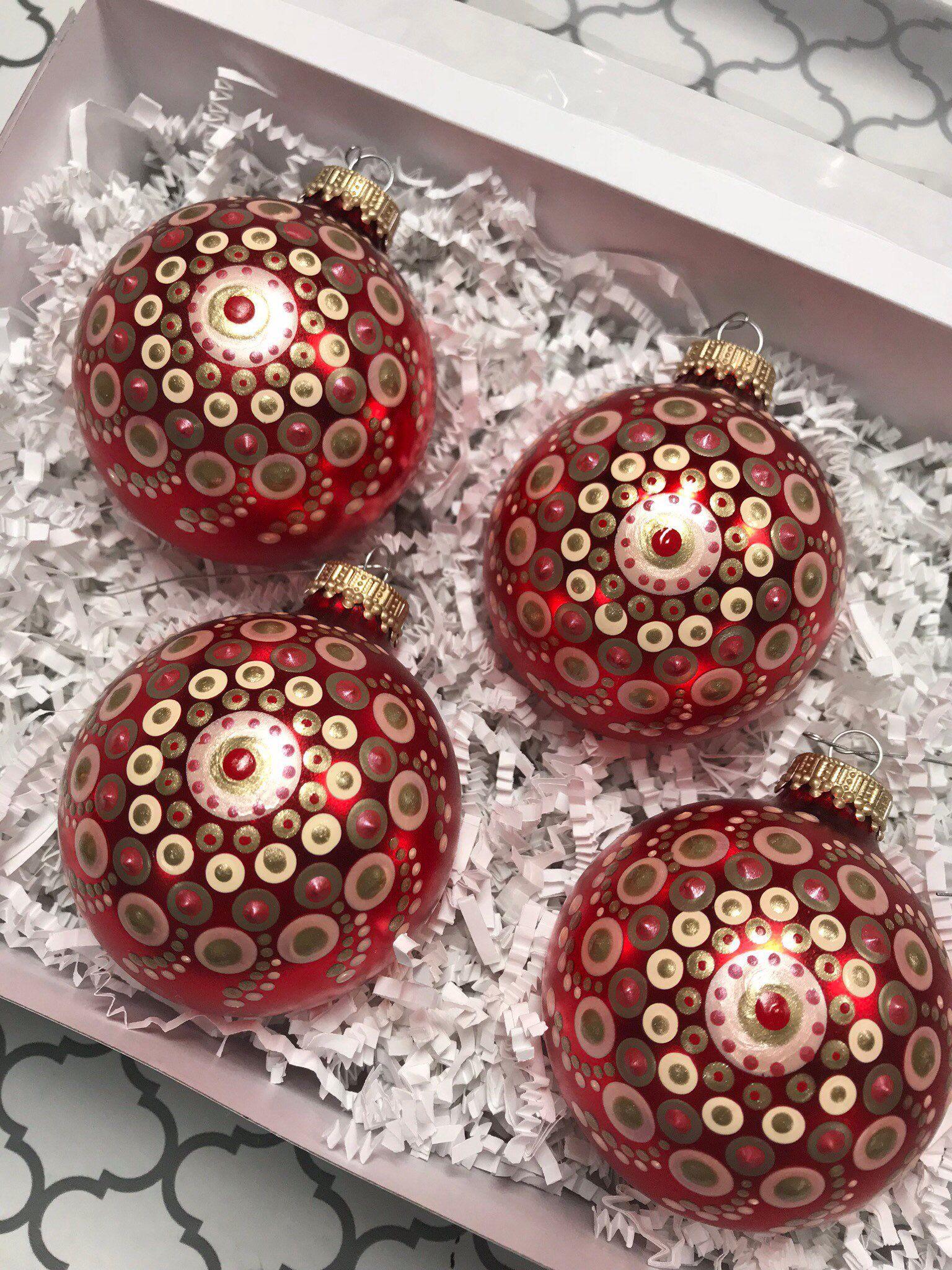 Christmas Ornaments 4 Pack Christmas Bulb Ornaments Hand Etsy Christmas Mandala Painted Christmas Ornaments Christmas Bulbs