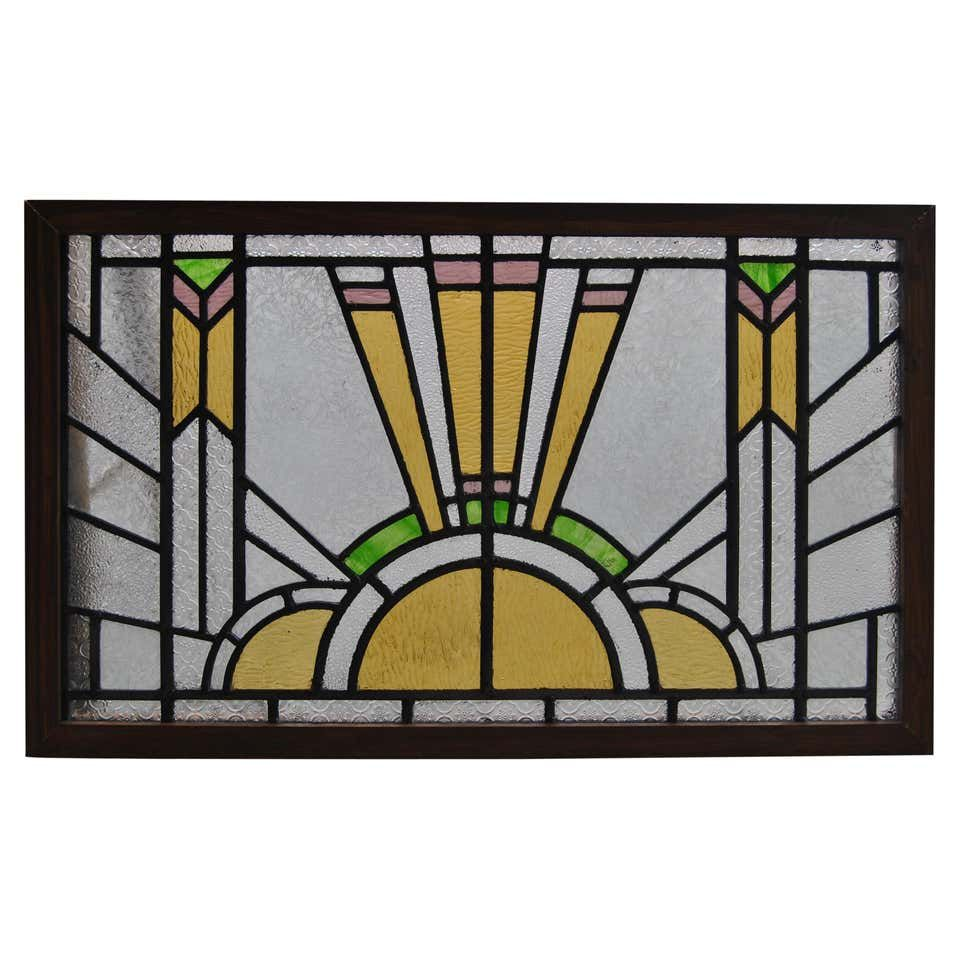 Vintage English Art Deco Style Stained Glass Window -   beauty Art stained glass