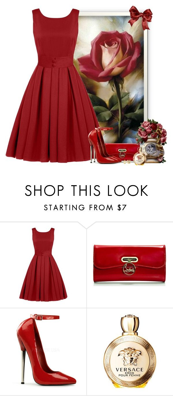 """dar uma rosa"" by sil-engler ❤ liked on Polyvore featuring Christian Louboutin, Versace and BERRICLE"