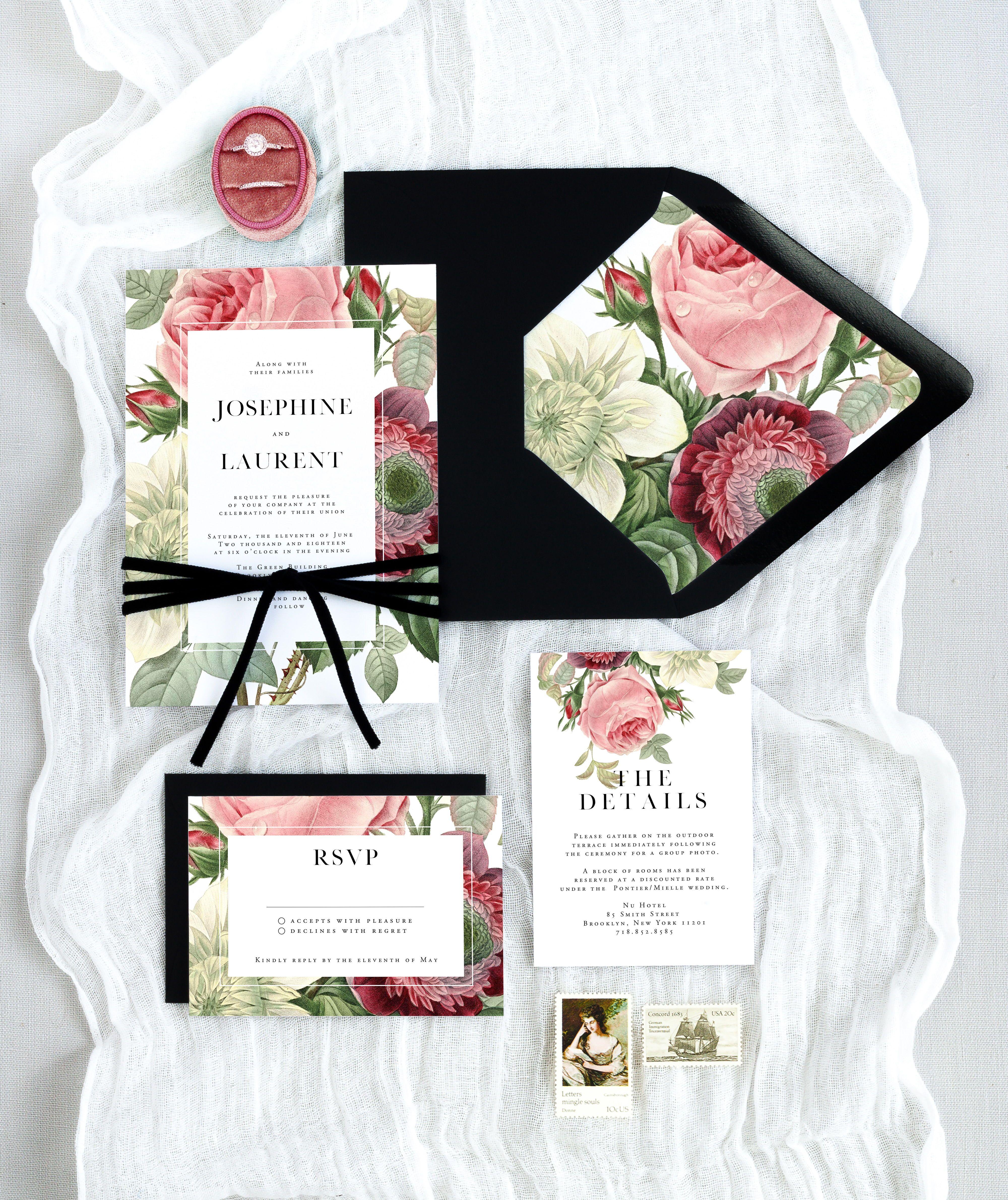 Elegant Wine Rose Wedding Invitation Suite