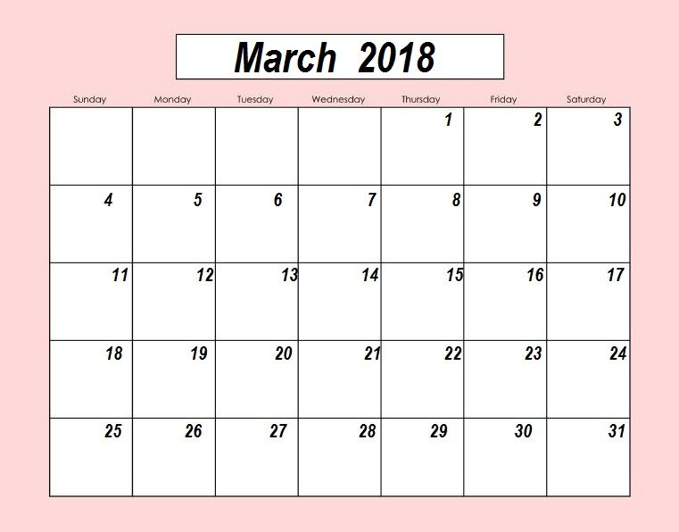 Cute march 2018 calendar blank maxcalendars pinterest march blank template march 2018 uk usa canada and india designer calendar with organizer planner timetable monthly yearly word excel office pdf file formats pronofoot35fo Images