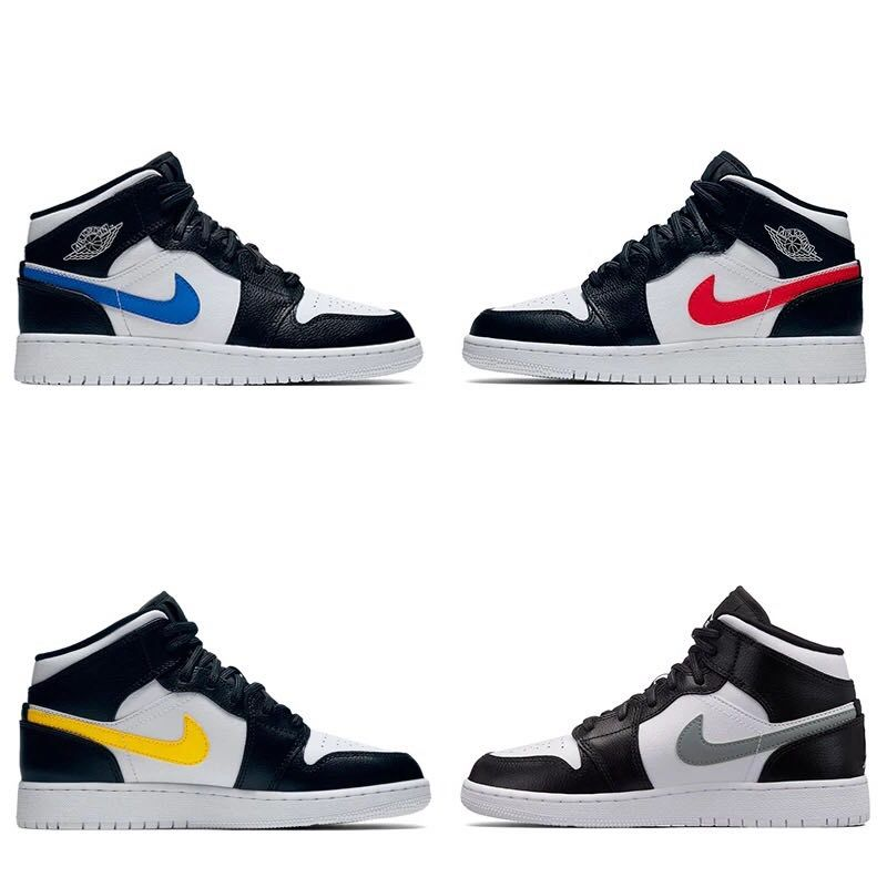 "Grade School Air Jordan 1 Mid GS ""Multi Swoosh"" Black White-University  Red-Tour Yellow 554725-052 a4171e56dd69"