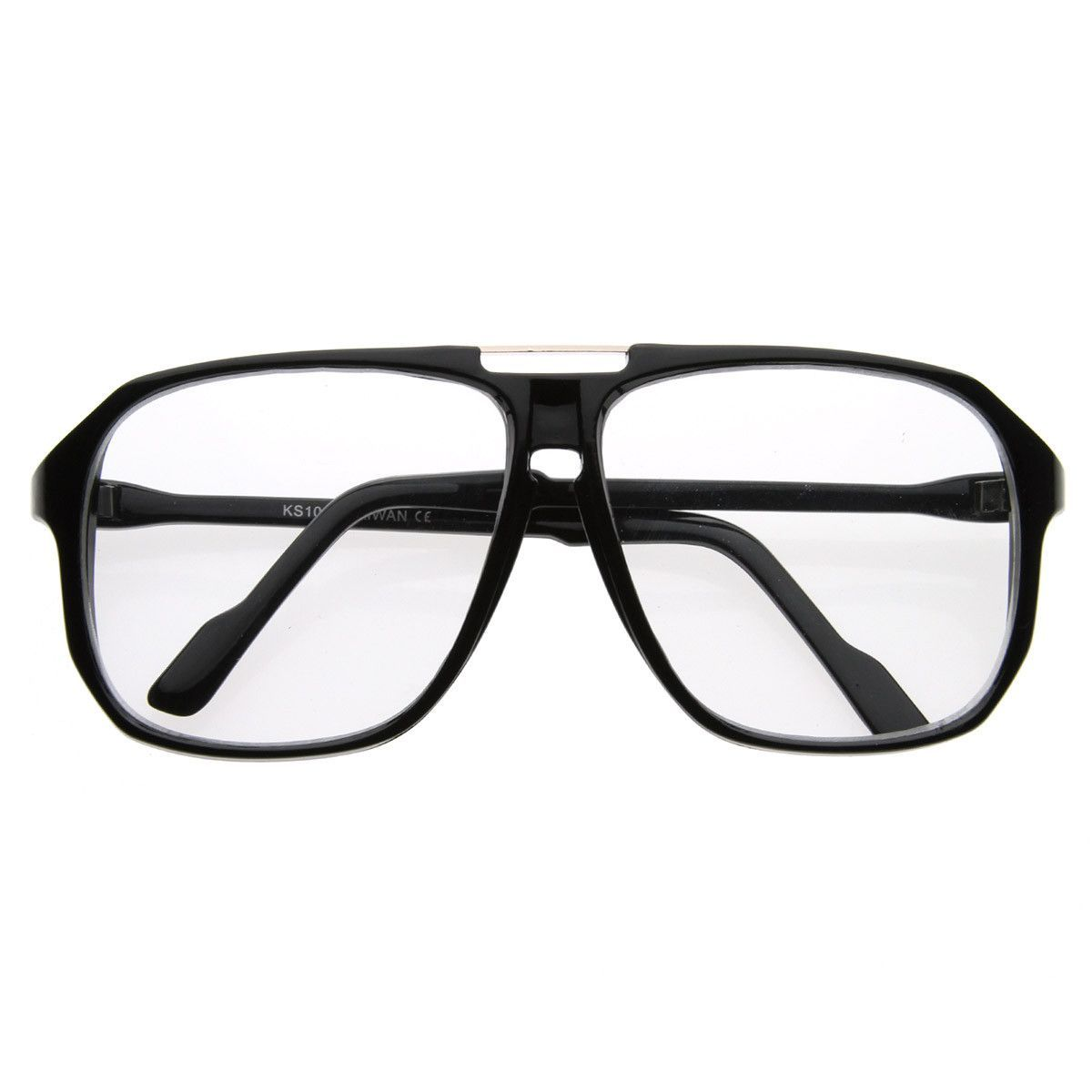 3f3cbb5ce547 Square Shaped Plastic Aviator Clear Lens Glasses Eyewear with Metal Top  Bridge  frame  summer  bold  sunglassla  cateye  oversized  clear   sunglasses ...
