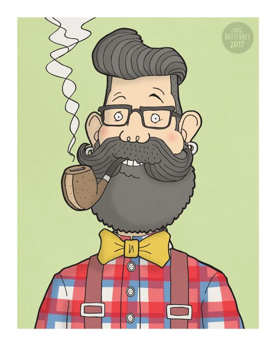 Hipster  Illustration Print by CarlBatterbee on Etsy