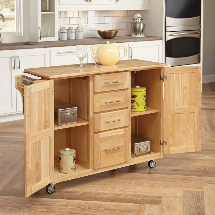 Breakfast Bar Kitchen Cart With Wood Top Natural Home Styles Breakfast Bar Kitchen Kitchen Cart Natural Wood Kitchen