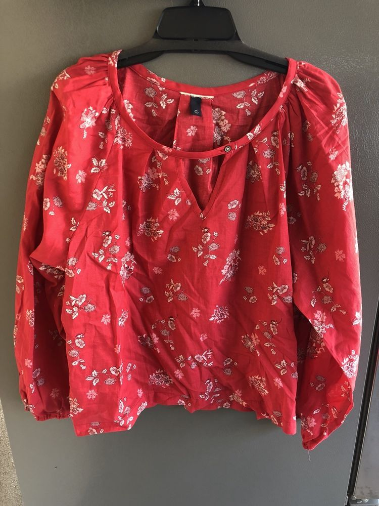 6a9b81e914e NWOT Faded Glory Plus Size Red Printed Long sleeve Top Size 4X  fashion   clothing  shoes  accessories  womensclothing  tops  ad (ebay link)