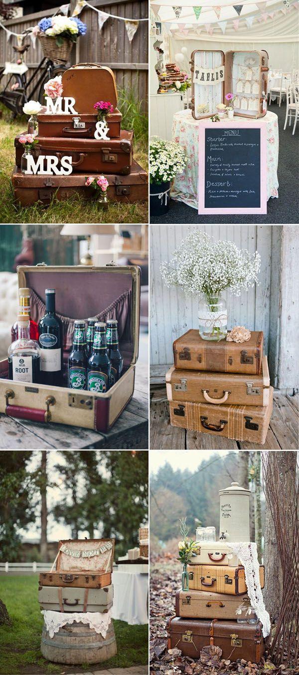 50 Creative Ideas To Add Vintage Charm To Your Wedding Decorations Elegantweddinginvites Com Blog Vintage Bridal Shower Vintage Suitcase Wedding Rustic Wedding Gift Table