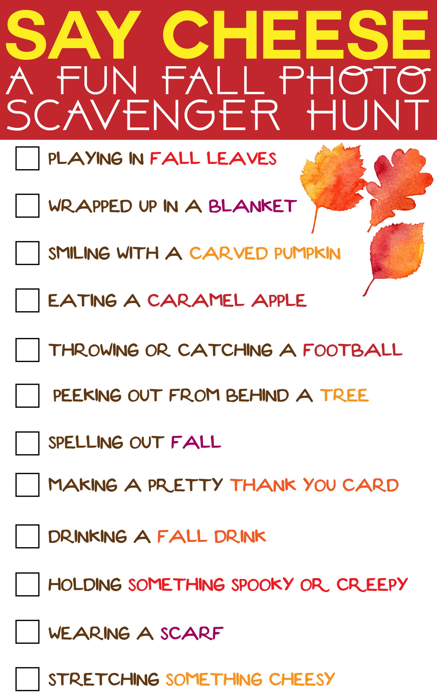 A Fun Fall Photo Scavenger Hunt That Works Great For
