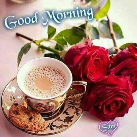 Good Morning Red Rose Flowers With Cup Of Coffee Cookies Good