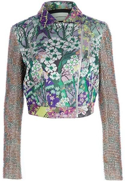 Mary Katrantzou Beaded Biker Jacket in Silver.  I'm making myself one of these floral silk biker jackets.  I'm glad I can sew, cuz this one costs almost seven thou.