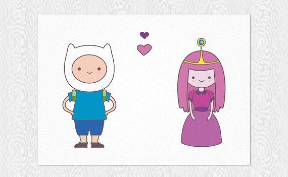 Finn  Princess Bubblegum funny valentines card  PDF DIY