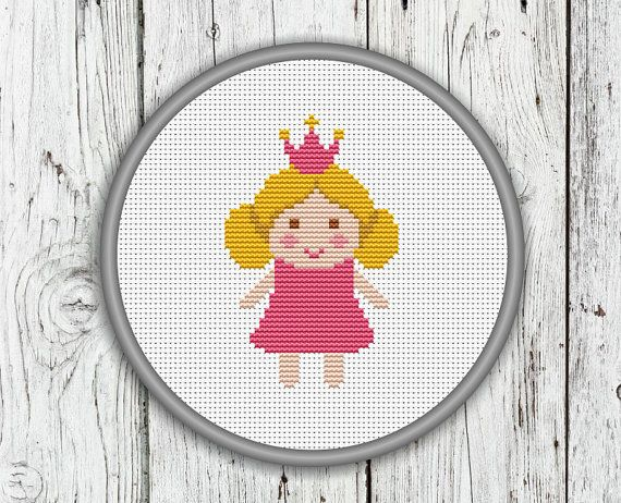 Little Pink Princess With A Crown Counted Cross by CrossStitchShop