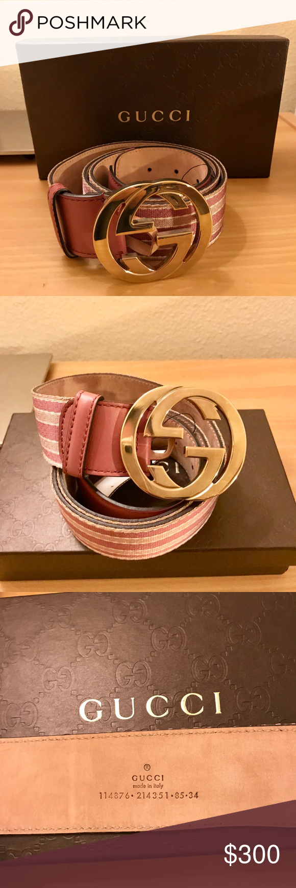 db81e808f1f Gucci belt Pink web canvas leather belt interlocking G buckles pink light  pink webbing