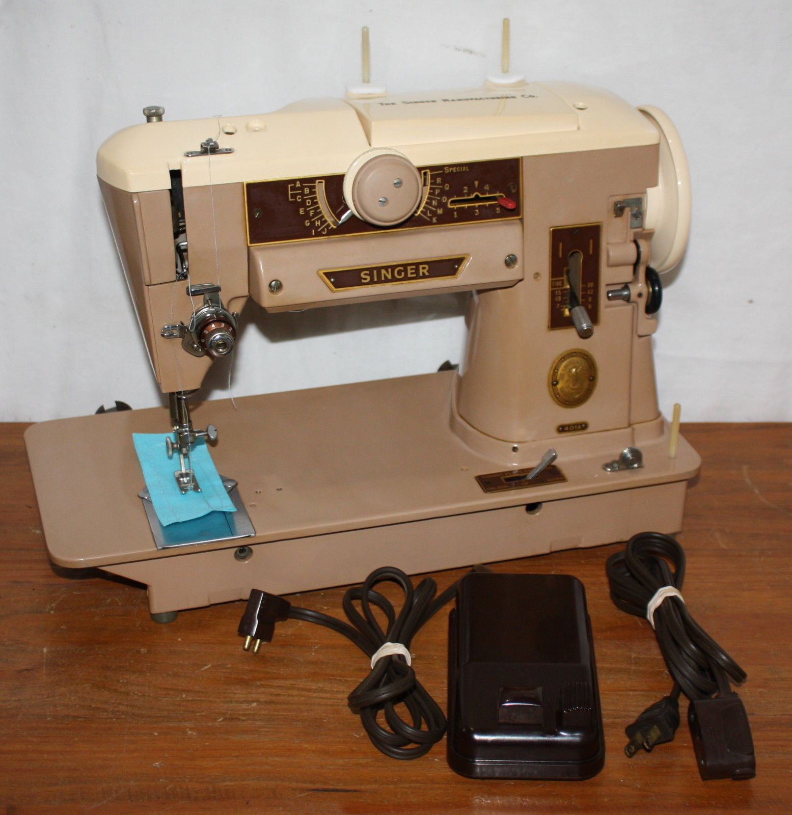 Professionally Serviced 1956 Singer 401a Sewing Machine Slant O 401 Threading Diagram Matic Tan