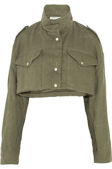 Off-White - Cropped Canvas Jacket - Army green