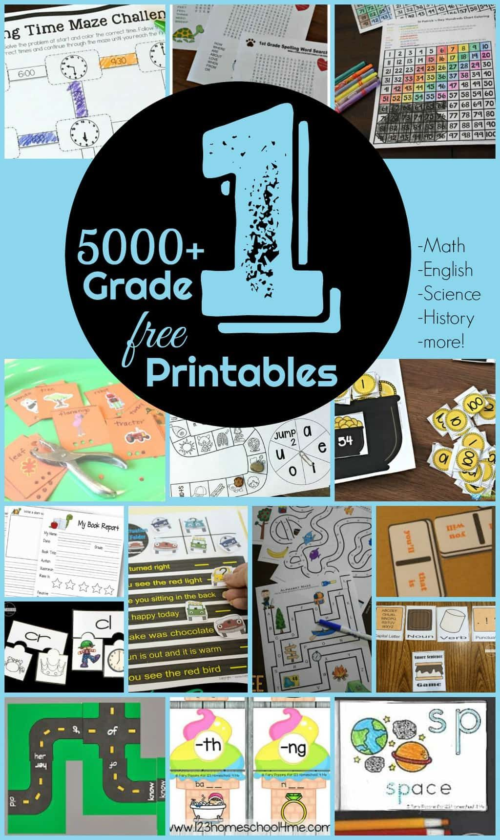 Free 1st Grade Worksheets In With Images