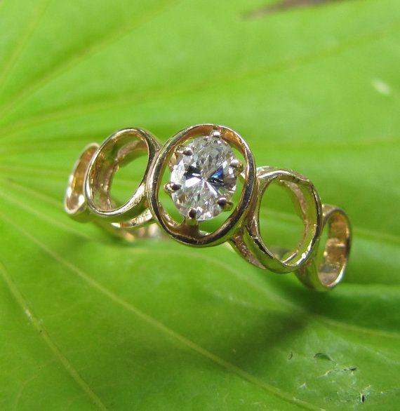 1960s Mod VVS Diamond 14k Vintage Engagement Ring / Wedding Band, $810.00