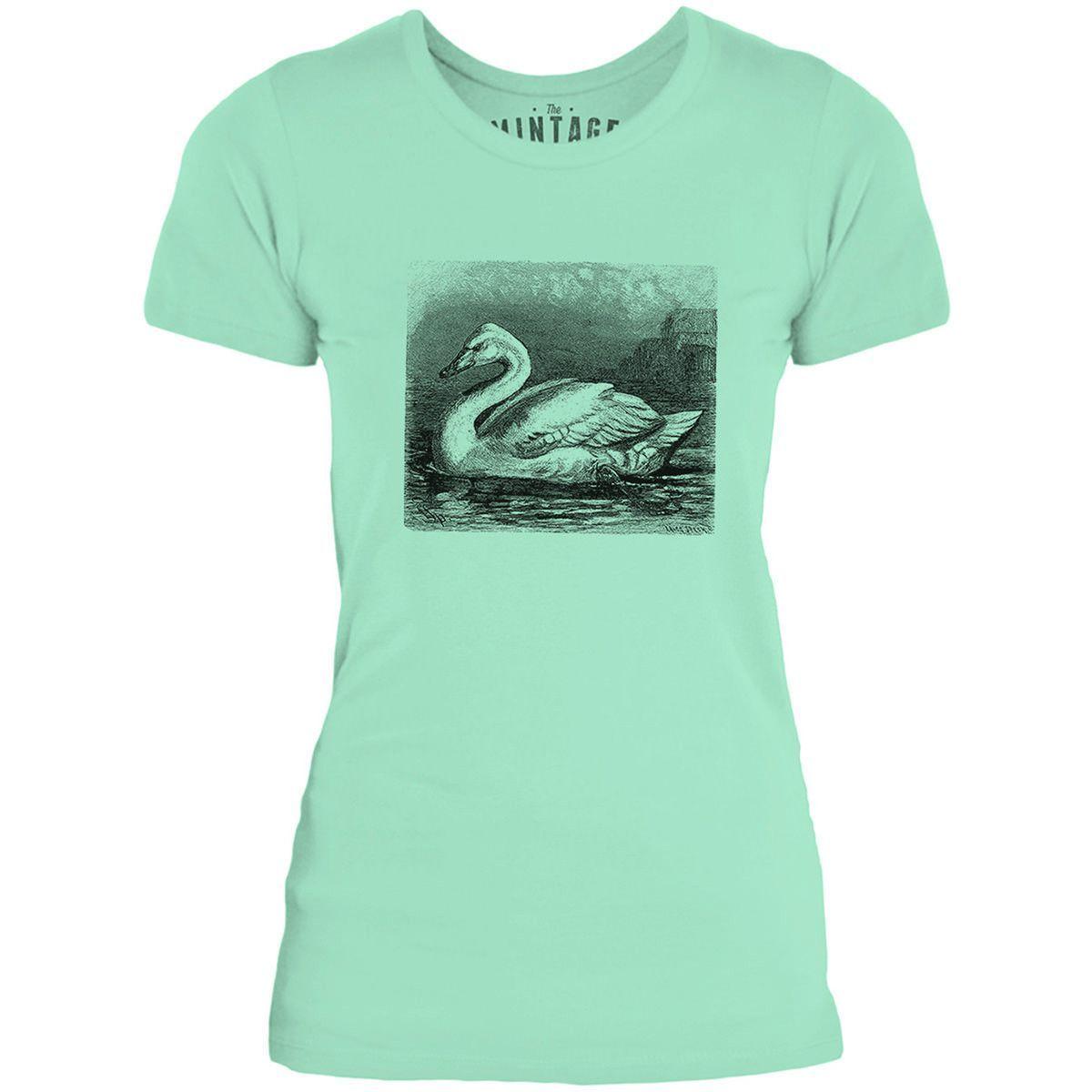 Mintage Majestic White Swan Womens Fine Jersey T-Shirt