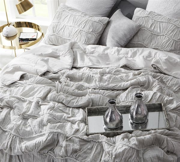 Pin By Sara Brenegan On Bedroom Dreaming Bed Linens Luxury Light Grey Bedding Bed Comforters