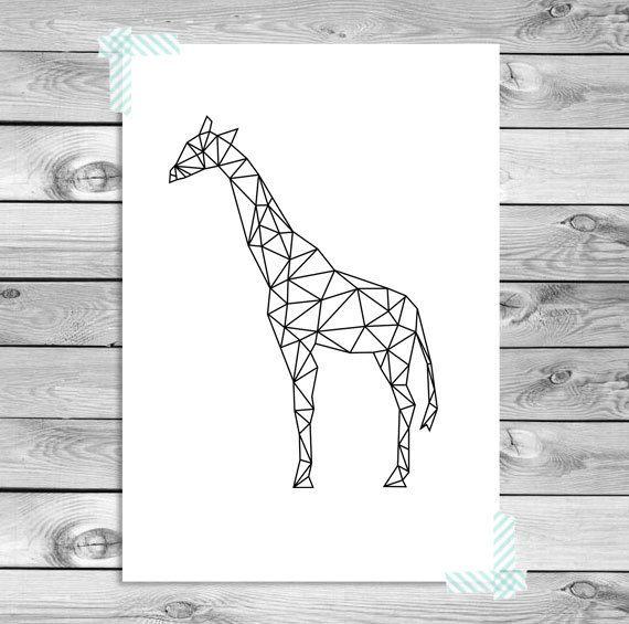 A3 Printable Art Poster Print Zwart Wit Giraf Door Designclaud Poster Afdrukken Giraffe