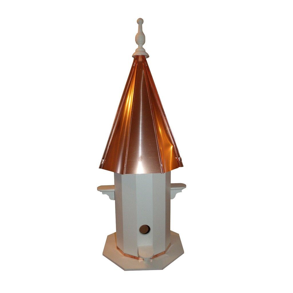 4 Hole Bird House with Polished Copper Roof
