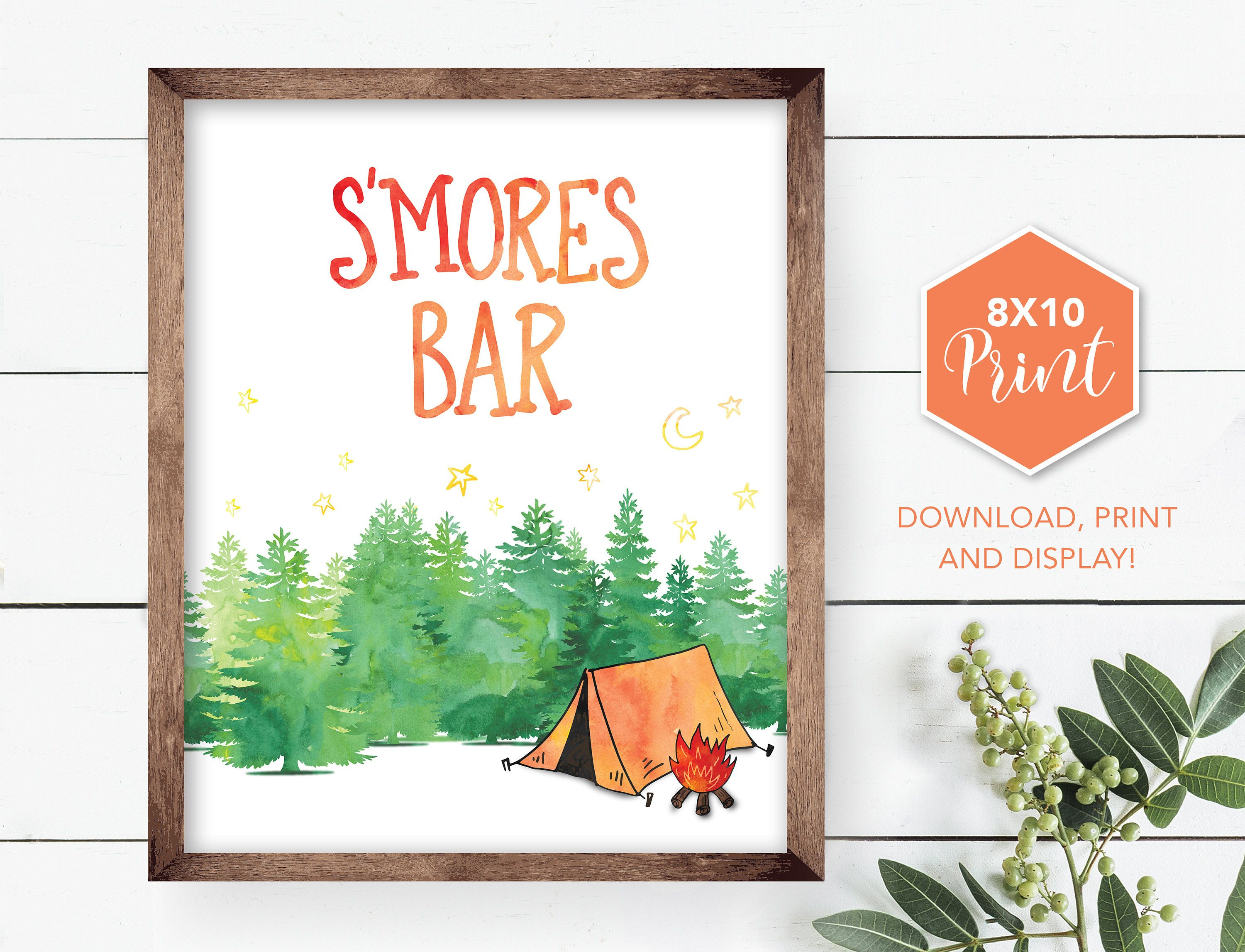 S\'mores Bar Camping Party Sign, Table sign, printable, digital print ...
