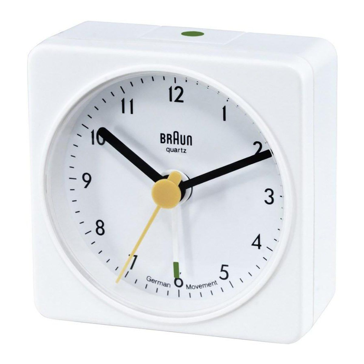 Braun Classic Travel Alarm Clock White Bn Bc02w Braun Clock Square Clocks Clock