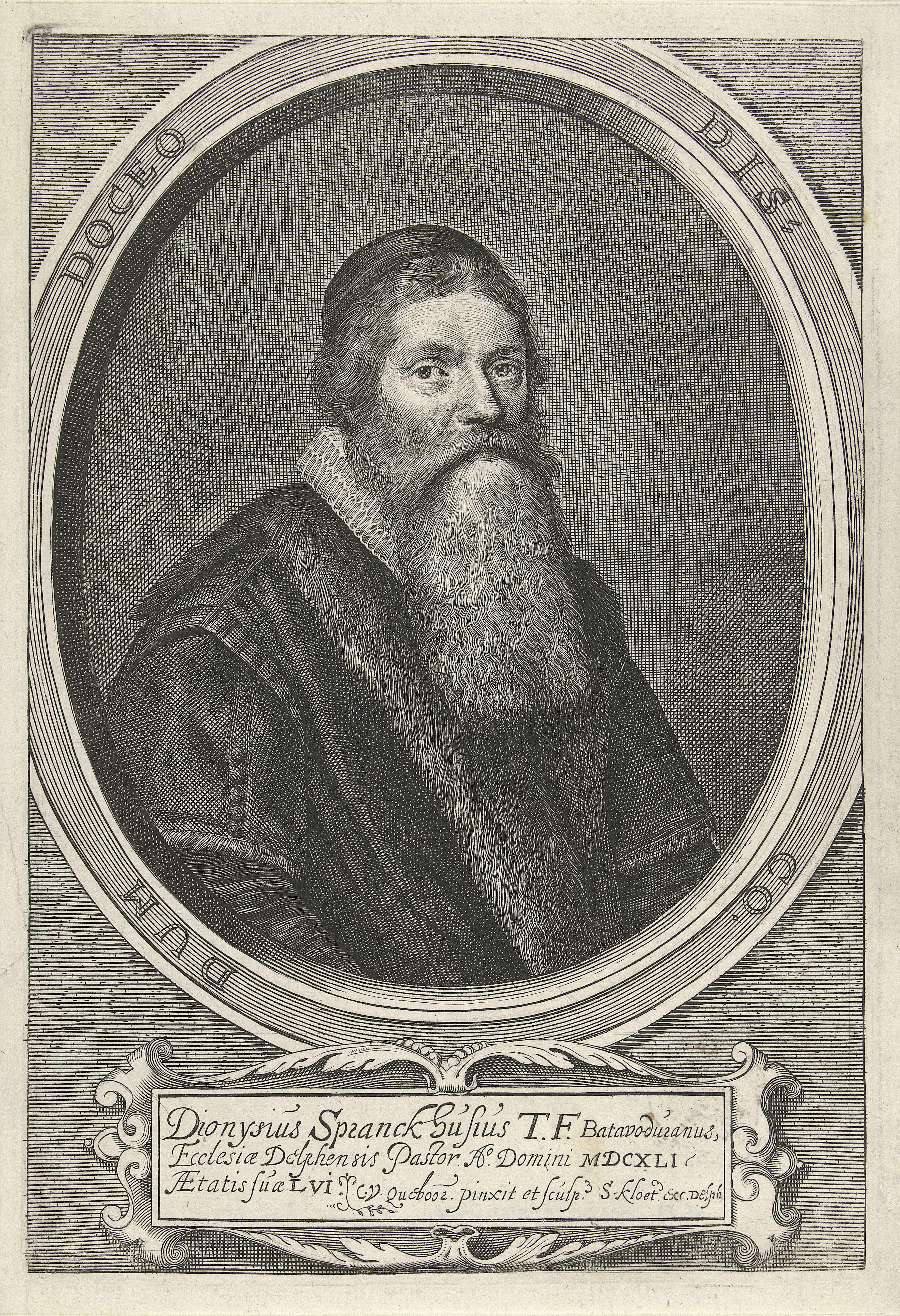 Crispijn van den Queborn | Portret van Dionysius Spranckhuysen, Crispijn van den Queborn, Simon Kloeting, 1641 | Portret van de predikant Dionysius Spranckhuysen, op 56 jarige leeftijd. Onder het portret een cartouche met zijn naam en titels in het Latijn.