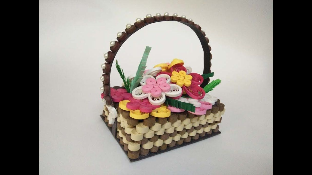 How To Make Quilling Flower Basket Paper Quilling Basket Paper