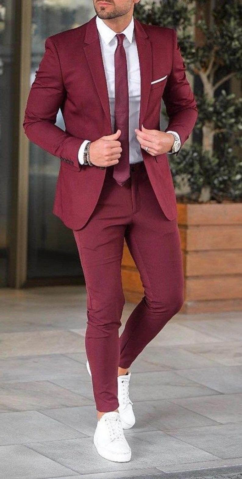 Mens Suit formal Summer Suit Burgundy 2 Piece Suit Slim Fit | Etsy – Kazue's Closet