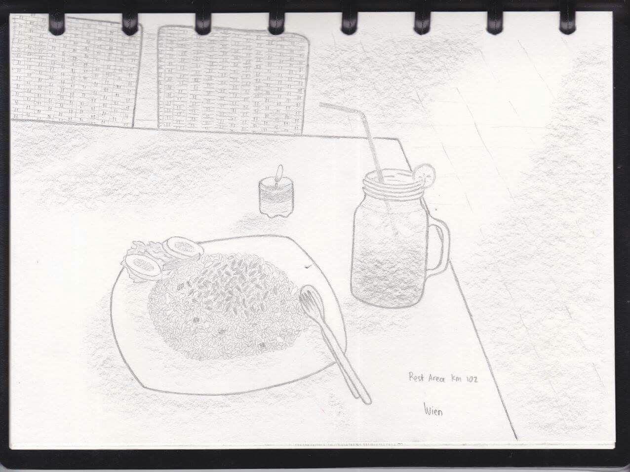 Rest Area 102 Tol Cipali Nasi Goreng Kenangan Perjalanan Gambar Pensil Sketsa Gambar