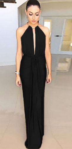 Black Gold Sleeveless Plunge V Neck Halter Cut Out Back Ruched Draped Maxi  Dress ae1a3dff9