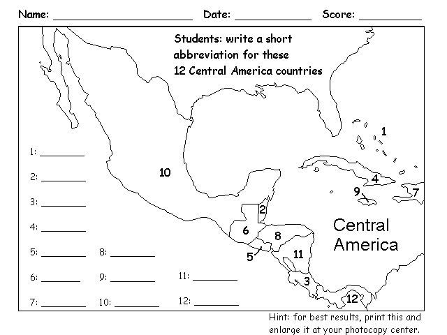 Image result for numbered central america map | Latin ...