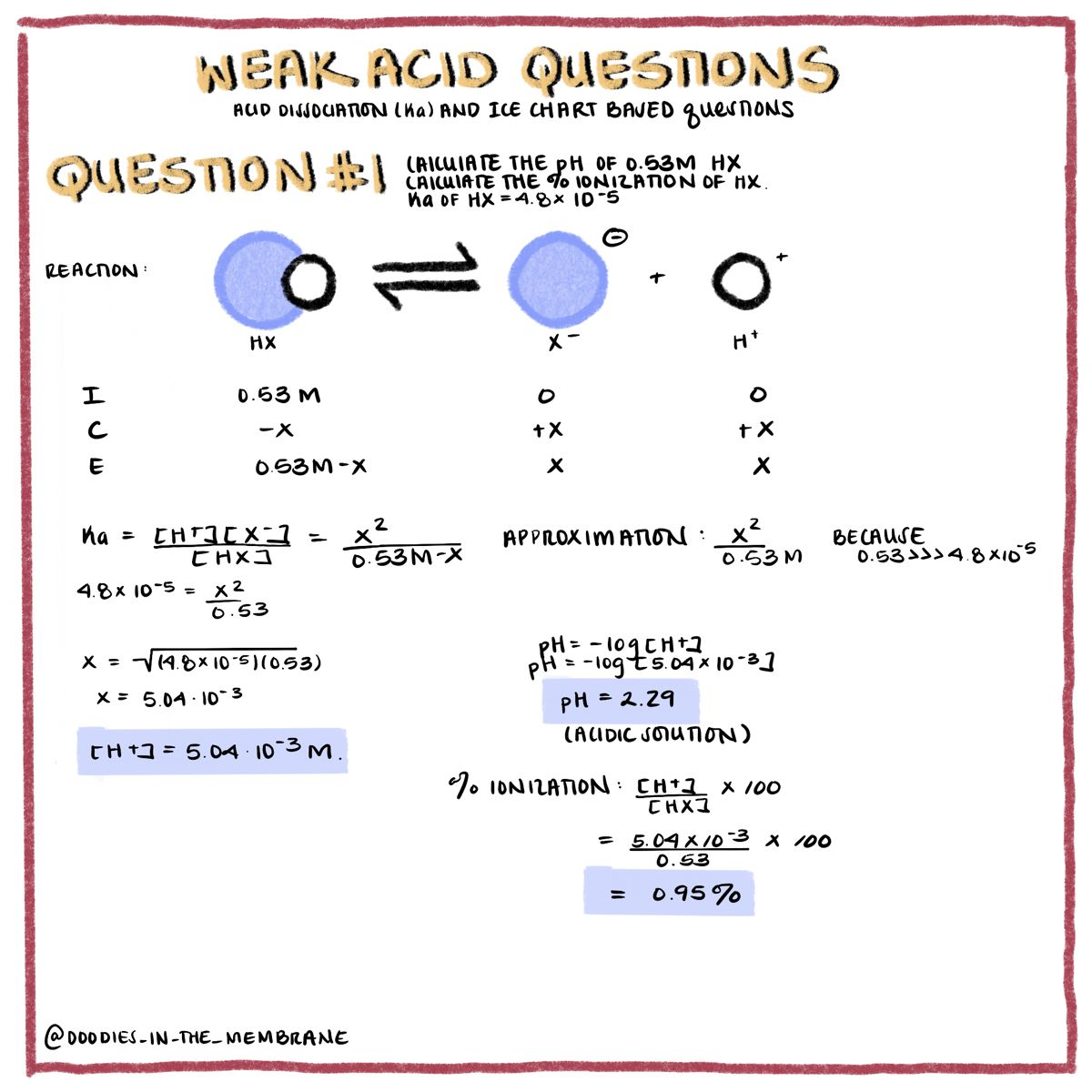 General Chemistry Ice Table Question And Answer In 2020 Biochemistry Chemistry Biochemistry Notes