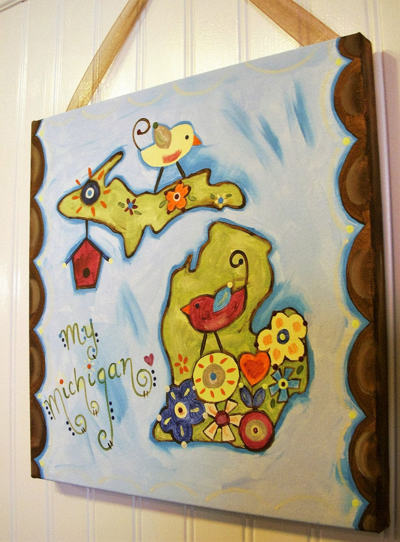 My Michigan Canvas painting Primitive folk art 12 x 12 Original ...