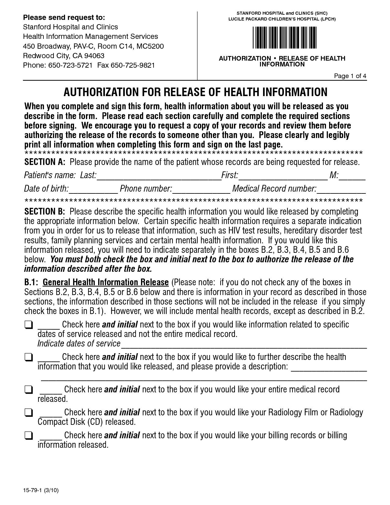 Hospital Release Form Pdf Stanford Hospital Health