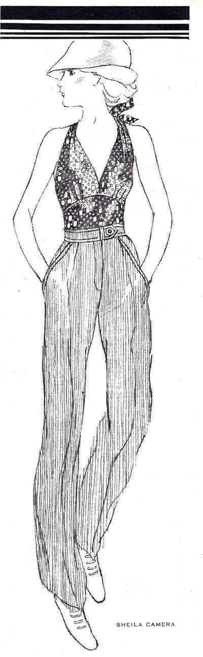 1974 Muita frente única, brilho e calças de cintura alta.