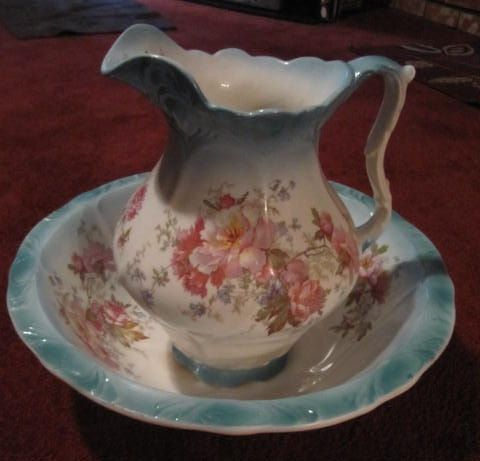 Large Ceramic Wash Bowl and Large Pitcher Set.  Lovely decoration.