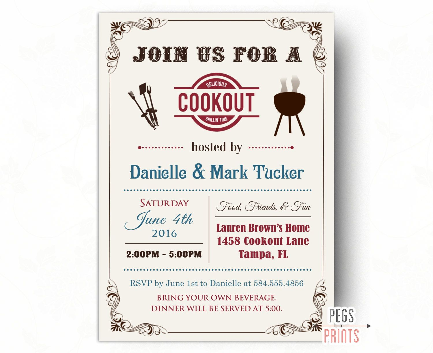 cookout invitation summer cookout invitation printable bbq invitation summer bbq invite summer party invitation family bbq 1500 usd by