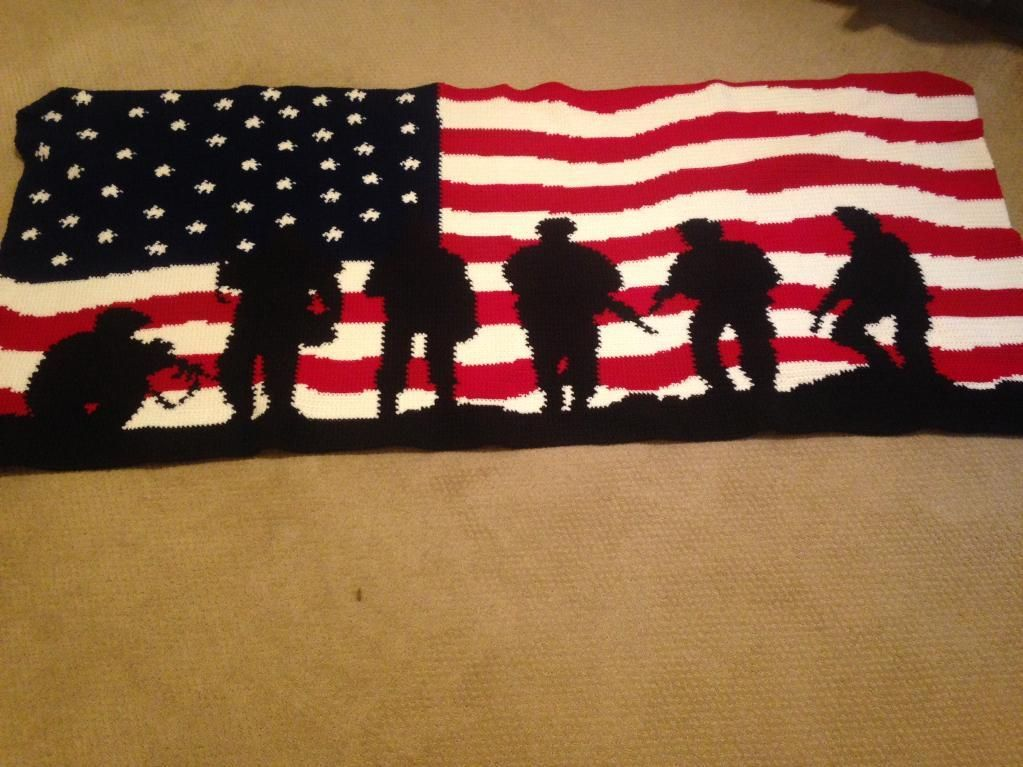 You Have To See American Flag Soldiers Crochet Afghan By